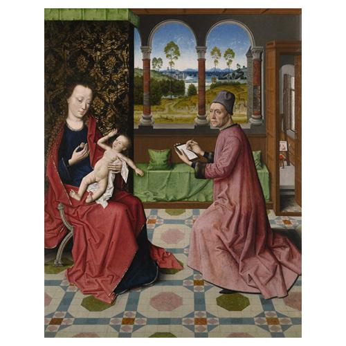 성모와 아기 예수를 그리는 성 누가 - 디르크 바우츠 / 성화그림 (수입원목액자)