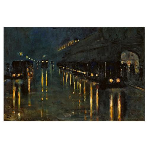 Hochbahnhof Bulowstraße bei Nacht - 레세르 우리 / 명화그림 (수입원목액자)
