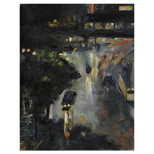 놀렌도르프 광장의 밤 - 레세르 우리 / 명화그림 (수입원목액자)