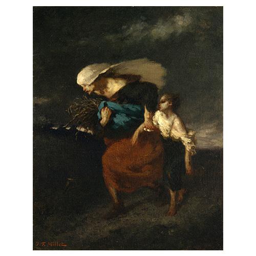 폭풍으로부터 피신 - 장 프랑수아 밀레 / 명화그림 (수입원목액자)
